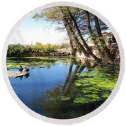 Pipe Springs Pond Round Beach Towel