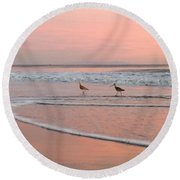 Pipers In Pink Round Beach Towel