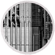 Pipes And Metal - Leeds Round Beach Towel