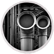 Pipes Round Beach Towel by Dave Bowman