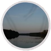 Piprell Lake At Dusk Round Beach Towel