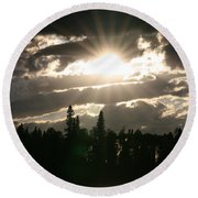 Piprell Lake Saskatchewan Round Beach Towel