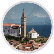 Piran Slovenia With St George's Cathedral Belfry And Baptistery  Round Beach Towel