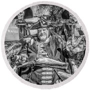 Pirate Captain And Parrots Black And White Round Beach Towel