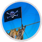 Pirate Flag And Moon Round Beach Towel
