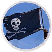 Pirate Flag Skull And Cross Bones Round Beach Towel