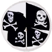 Pirate Flags Round Beach Towel by David Lee Thompson