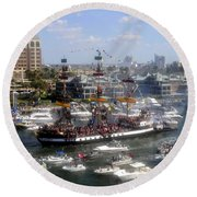 Pirate Ship And Flotilla Round Beach Towel