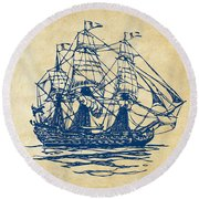Pirate Ship Artwork - Vintage Round Beach Towel