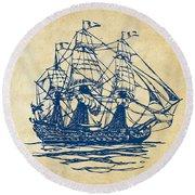 Pirate Ship Artwork - Vintage Round Beach Towel by Nikki Marie Smith