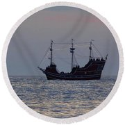 Pirate Ship At Clearwater Round Beach Towel