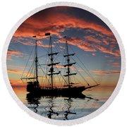 Pirate Ship At Sunset Round Beach Towel