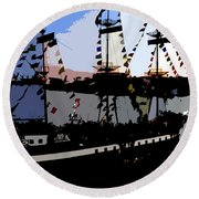 Pirate Ship Round Beach Towel