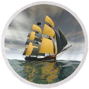 Pirate Ship On The High Seas Round Beach Towel