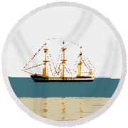 Pirate Ship On The Horizon Round Beach Towel