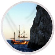 Pirate Ship Sunset Sea Of Cortez Cabo Round Beach Towel