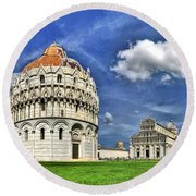 Pisa - Baptistry Duomo And Leaning Tower Round Beach Towel