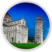 Pisa Cathedral With The Leaning Tower Of Pisa, Tuscany, Italy At Night Round Beach Towel