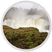 Pisew Falls Northern Manitoba Canada Round Beach Towel
