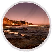 Pismo Beach Sunset Round Beach Towel