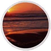 Pismo Beach Sunset Round Beach Towel