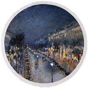 Pissarro: Paris At Night Round Beach Towel