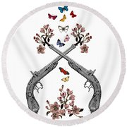 Pistols Wit Flowers And Butterflies Round Beach Towel