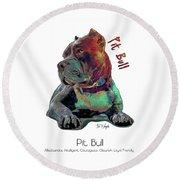 Pit Bull Pop Art Round Beach Towel