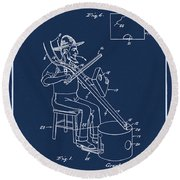 Pitch Fork Fiddle And Drum Patent 1936 - Blue Round Beach Towel