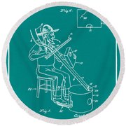 Pitch Fork Fiddle And Drum Patent 1936 - Green Round Beach Towel