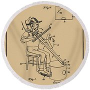 Pitch Fork Fiddle And Drum Patent 1936 - Sepia Round Beach Towel