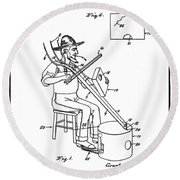 Pitch Fork Fiddle And Drum Patent 1936 - White Round Beach Towel
