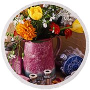 Pitcher Of Flowers Still Life Round Beach Towel