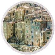 Pitigliano Houses Closeup Grosseto Tuscany Round Beach Towel