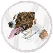 Pittbull Dog Round Beach Towel
