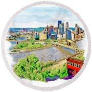Pittsburgh Aerial View Round Beach Towel