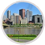 Pittsburgh From Just Outside Pnc Park Round Beach Towel