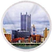 Pittsburgh Pa Skyline Round Beach Towel