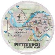 Pittsburgh Pennsylvania Fine Art Print Retro Vintage Map With Touristic Highlights Round Beach Towel