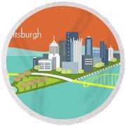 Pittsburgh Pennsylvania Horizontal Skyline - Orange Round Beach Towel