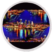 Pittsburgh Skyline Art Round Beach Towel