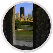 Pittsburgh Skyline, North Shore Arch, Pittsburgh, Pa  Round Beach Towel