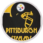 Pittsburgh Steelers Team Vintage Art Round Beach Towel