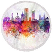 Pittsburgh V2 Skyline In Watercolor Background Round Beach Towel