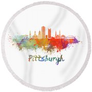 Pittsburgh V2 Skyline In Watercolor Round Beach Towel