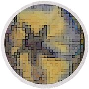Pixel Pansy Round Beach Towel
