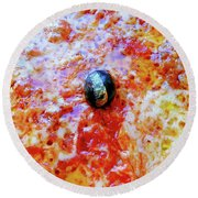 Pizza Pie With Olive Round Beach Towel