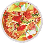 Pizza Pizza Round Beach Towel by Paula Ayers