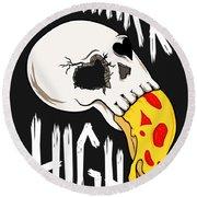 Pizza Skull Round Beach Towel