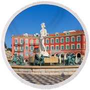 Place Massena Of Nice In France Round Beach Towel